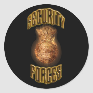 Security Forces Flame Shield Classic Round Sticker