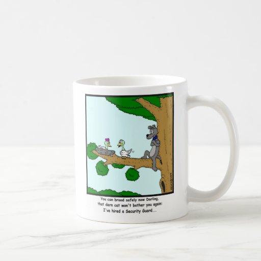 Security Guard: Bird, Cat and Dog cartoon Mug