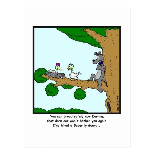 Security Guard: Bird, Cat and Dog cartoon Postcard