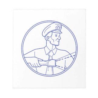 Security Guard Flashlight Circle Mono Line Notepad