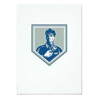 Security Guard Flashlight Shield Retro 11 Cm X 16 Cm Invitation Card