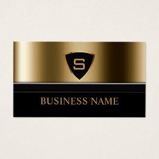 Security Guard Gold Shield Monogram Modern Business Card