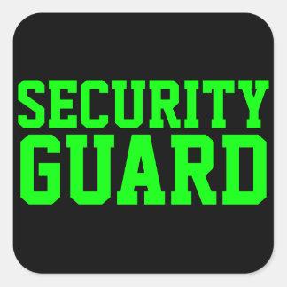 Security Guard Neon Green Square Sticker