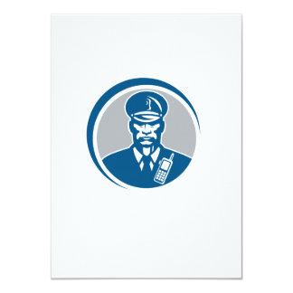 Security Guard Police Officer Radio Circle 11 Cm X 16 Cm Invitation Card