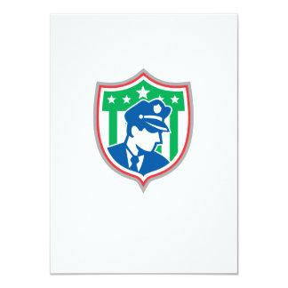 Security Guard Police Officer Shield 11 Cm X 16 Cm Invitation Card