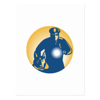 Security Guard Policeman Police Dog Post Cards