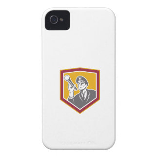 Security Guard With Flashlight Shield Retro iPhone 4 Case-Mate Cases