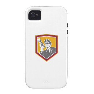 Security Guard With Flashlight Shield Retro iPhone 4 Cases