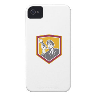 Security Guard With Flashlight Shield Retro iPhone 4 Cover
