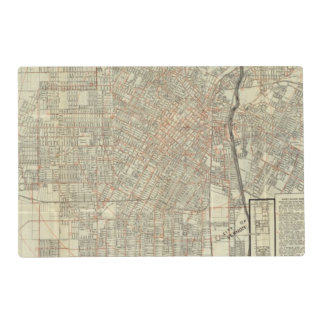 Security map and Street Railways in Los Angeles Placemat