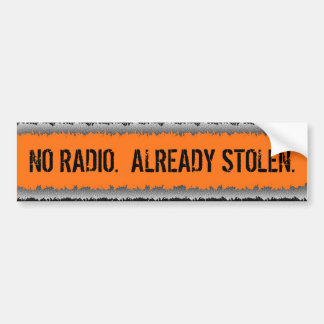 Security radio humor bumpersticker car bumper sticker