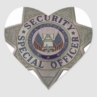 Security Special Officer Silver Heart Sticker