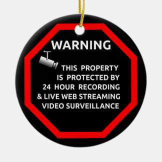SECURITY STICKER SIGN WARNING SURVELLIENCE CAMERA Double-Sided CERAMIC ROUND CHRISTMAS ORNAMENT