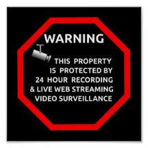 SECURITY STICKER SIGN WARNING SURVELLIENCE CAMERA POSTERS