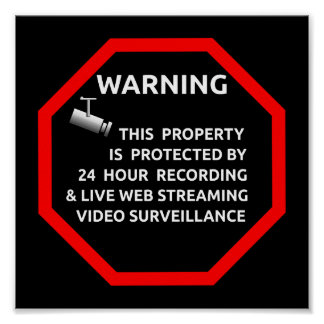 SECURITY STICKER SIGN WARNING SURVELLIENCE CAMERA POSTER