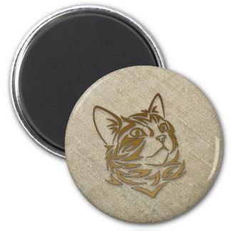 seda cruda para el gatito imán redondo 5 cm