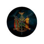 Seda de la bandera de Nueva York Relojes De Pared