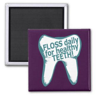 ¡Seda diaria para los dientes sanos! Imán Cuadrado