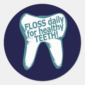 ¡Seda diaria para los dientes sanos! Pegatina Redonda