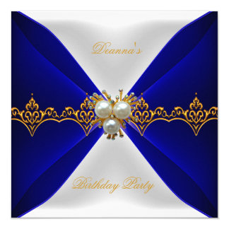 Seda elegante del blanco de la joya del oro del invitación 13,3 cm x 13,3cm