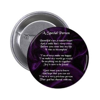 Seda púrpura - poema especial de la persona pin redondo de 2 pulgadas