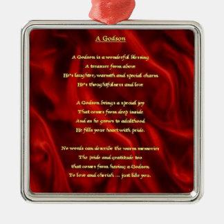 Seda roja - poema del ahijado adorno navideño cuadrado de metal