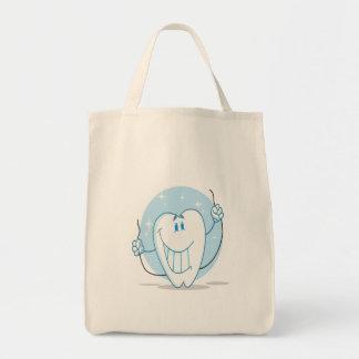 Seda sonriente del personaje de dibujos animados bolsa tela para la compra