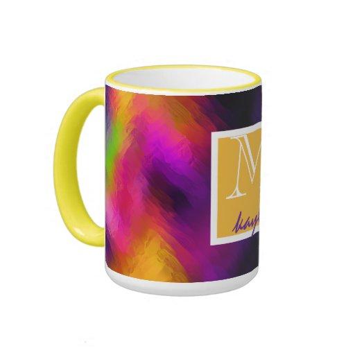Seda vidriosa del extracto colorido con monograma  taza de café
