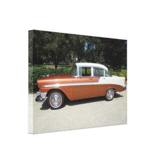Sedán 1956 de la puerta del Bel Air 4 de Chevrolet Impresión En Lienzo Estirada
