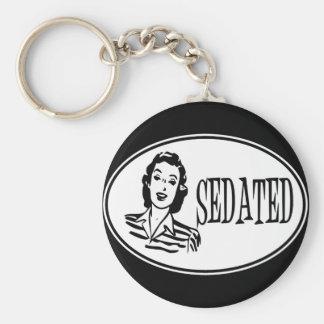 Sedated Retro Housewife Basic Round Button Keychain
