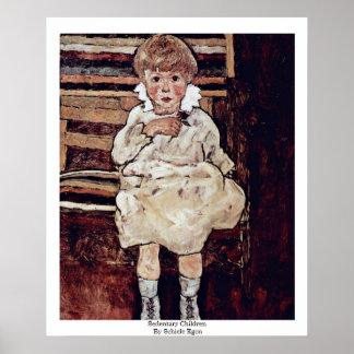 Sedentary Children By Schiele Egon Poster