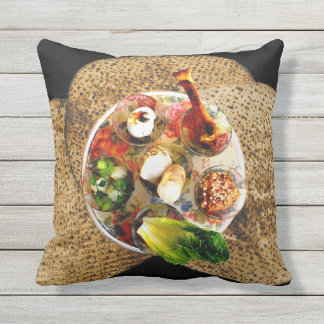 Seder Plate & 3 Matzos - See Both Sides Throw Pillow