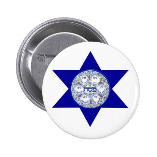 Seder Plate In The Star of David Pinback Button
