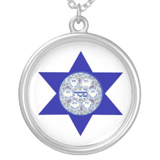 Seder Plate In The Star of David Round Pendant Necklace