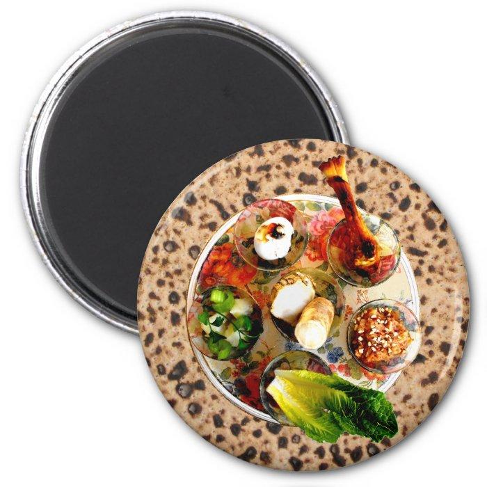 Seder Plate & Matzah 2 Inch Round Magnet