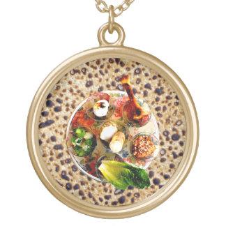Seder Plate & Matzah Round Pendant Necklace