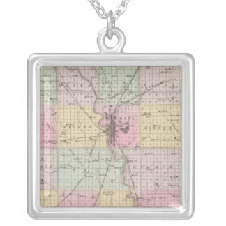 Sedgwick County, Mount Hope, and Derby, Kansas Square Pendant Necklace