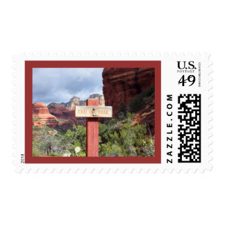 Sedona Hiking Trail Sign Postage Stamp