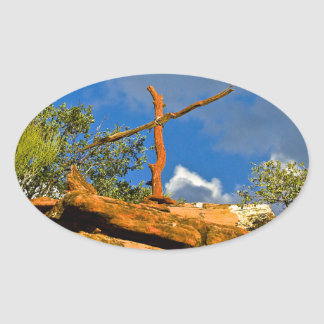 Sedona Mountain trails Remembrance Cross Oval Stickers