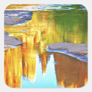 Sedona Oak Creak reflections of Cathedral Rock Square Sticker
