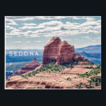 "Sedona Red Rocks | Postcard<br><div class=""desc"">A postcard featuring an original landscape photograph of red rocks in Sedona,  Arizona with a background of blue and purple.</div>"