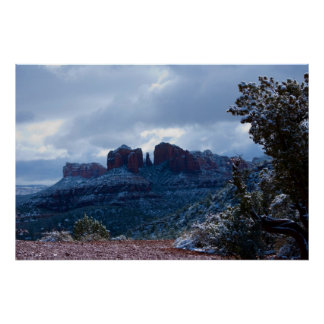 Sedona Snow on Cathedral Rock 2720 Poster