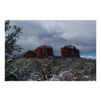 Sedona Snow on Cathedral Rock 2793 Poster