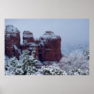 Sedona Snow on Coffee Pot Rock 2743 Poster