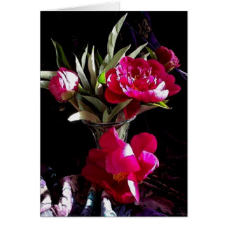 Seductive Red Peonies Card