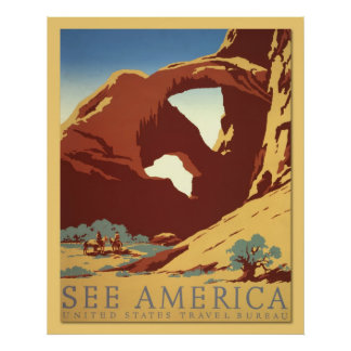 See America - Cowboys & Rock Formations (vintage) Poster