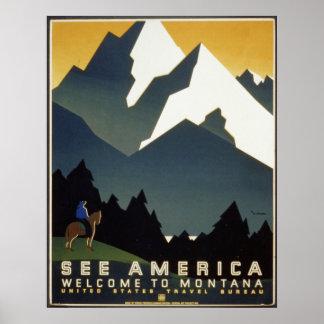See America Montana Mountains Travel WPA Poster