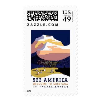 See America Montana Vintage Travel Postage Stamp