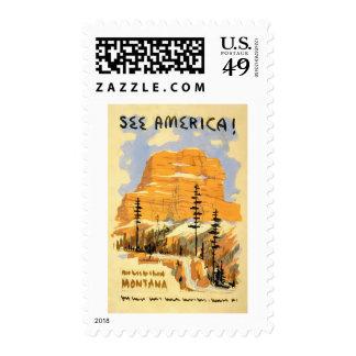 See America Montana Vintage Travel Postage