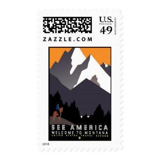 See America Montana Vintage Travel Postage Stamps